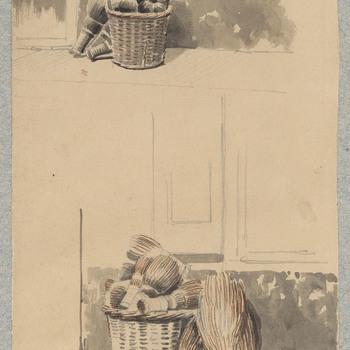 Aquarel, voorstellende twee manden met heibezems, vervaardigd door L.J. Hansen, 1843