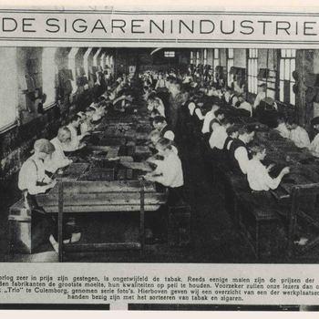 """Foto, voorstellende sigarenfabriek """"Trio"""" te Culemborg, 1917"""