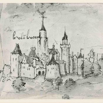 Foto, voorstellende pentekening stadsgezicht van Culemborg uit circa 1528