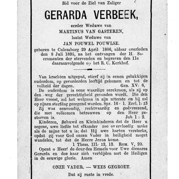 bidprent voor Gerarda Verbeek. Geboren 29-05-1806 te Culemborg. Overleden 08-07-1895 te Culemborg