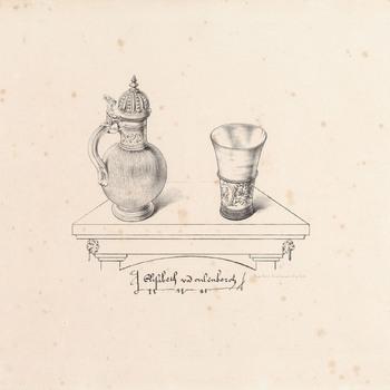 Litho, voorstellende het kannetje en de beker van de HH protectoren van het Elisabeth Weeshuis te Culemborg, door Van Erp Taalman Kip, 1860