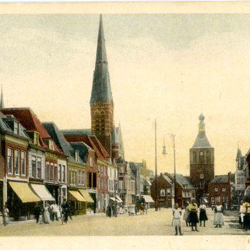 Ansichtkaart, voorstellende de Markt te Culemborg, 1912-1930