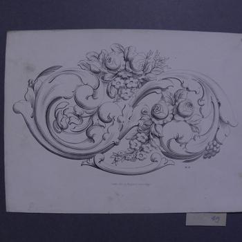 Litho, voorstellende ranken met bloemen en druiven, circa 1870