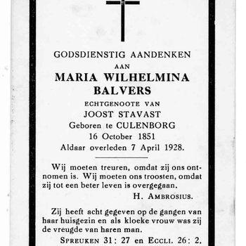 bidprent voor Maria Wilhelmina Balvers. Geboren 16-10-1851 te Culemborg. Overleden 07-04-1928 te Culemborg