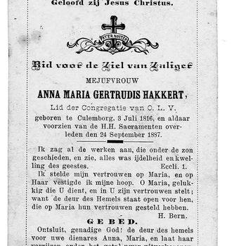 bidprent voor Anna Maria Hakkert. Geboren 03-07-1816 te Culemborg. Overleden 24-09-1887 te Culemborg