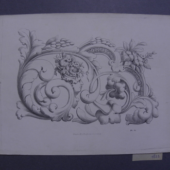 Litho, voorstellende ranken met bloemen, druiven en gezicht circa 1870