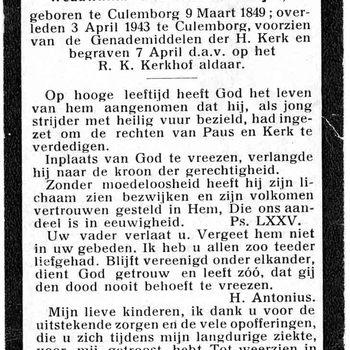 bidprent voor Cornelis Antonius Romijn. Geboren 09-03-1849 te Culemborg. Overleden 03-04-1943 te Culemborg