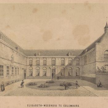 Litho, voorstellende de binnenplaats van het Elisabeth Weeshuis, vervaardigd door Van Erp Taalman Kip en gedrukt door P. v.d. Weyer, 1860