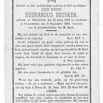 bidprent voor Everardus Beusker. Geboren 25-06-1812 te Doesburg. Overleden 06-09-1881 te Culemborg