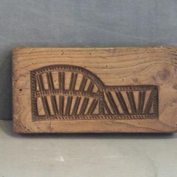 speculaasplank van hout, geassocieerd met de spoorbrug te Culemborg