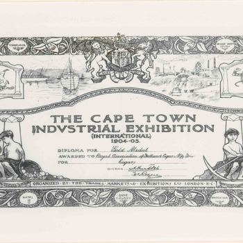 Foto, voorstellende diploma tentoonstelling Kaapstad, geassocieerd met Trio sigaren