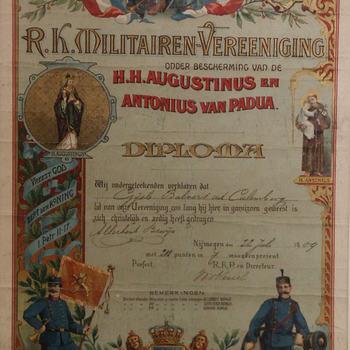 diploma, geassocieerd met R.K. Militairen-Vereeniging en Gijsbert Balvers, 1909
