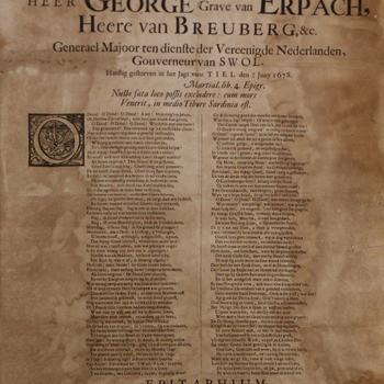 Lijkrede over de heer George Grave van Erbach, overleden 19/29 juni 1678, gedrukt door Lourens Hammius te Culemborg in 1678