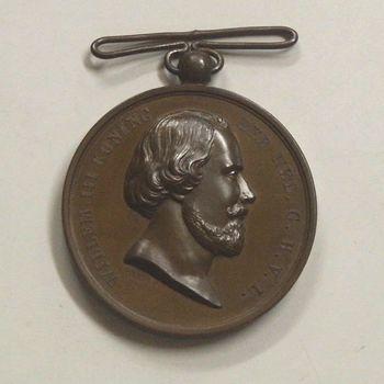 bronzen medaille met als onderwerp: De Koning aan I.C.F. van Hoytema-Watersnood 1855