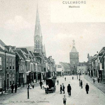 Ansichtkaart, voorstellende de Markt te Culemborg, circa 1900-1905
