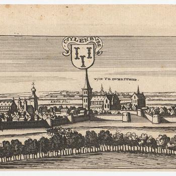 Ets, voorstellende een gezicht op Culemborg, vervaardigd door Casper Bouttats, 1674