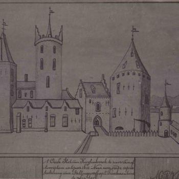 Foto, voorstellende tekening van het kasteel te Culemborg, 1611