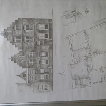 kopie van aquarel en plattegrond van Jan van Riebeeckhuis te Culemborg, 1959