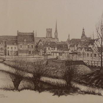 Reproductie, voorstellende een gezicht op de stad Culemborg vanaf de Lange Meent, naar een pentekening van Lex de Vroedt, 1986