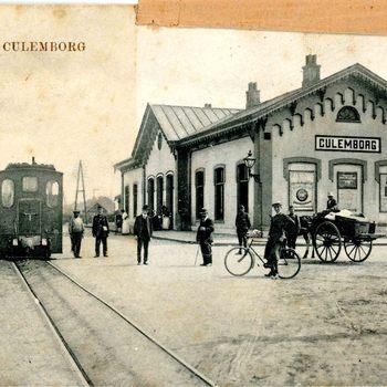 Ansichtkaart, voorstellende het station te Culemborg met stoomtram, circa 1900