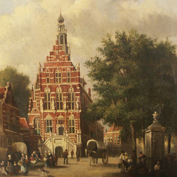 Schilderij, olieverf op paneel, voorstellende het stadhuis te Culemborg, copie naar C. Springer, 1920-1931