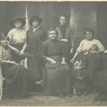 Foto, voorstellende Belgische vluchtelingen 1e Wereldoorlog 1914 - 1918