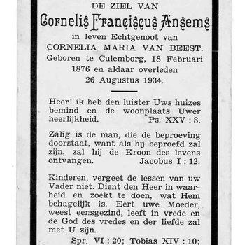 bidprent voor Cornelis Franciscus Ansems. Geboren 18-02-1876 te Culemborg. Overleden 26-08-1934 te Culemborg