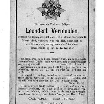 bidprent voor Leendert Vermeulen. Geboren 22-01-1864 te Culemborg. Overleden 15-03-1892 te Culemborg