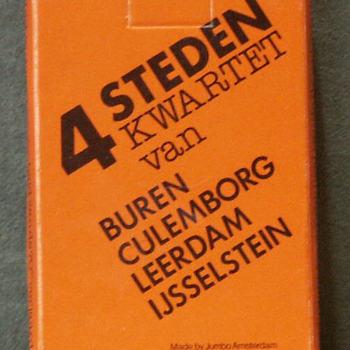 Kwartetspel over Buren, Culemborg, Leerdam en IJsselstein in oranje doos met zwarte opdruk.