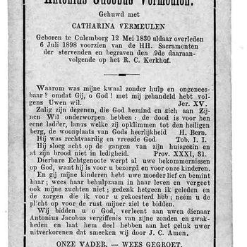 bidprent voor Antonius Jacobus Vermeulen. Geboren 12-05-1830 te Culemborg. Overleden 06-07-1898 te Culemborg