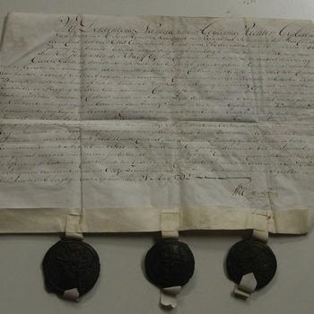 Charter op perkament met 3 zegels