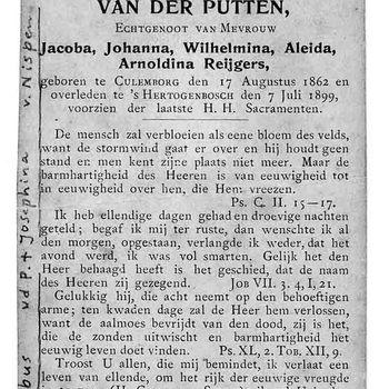 bidprent voor Everhardus Ludovicus Wilhelmus van der Putten. Geboren 17-08-1862 te Culemborg. Overleden 07-07-1899 te 's Hertogenbosch