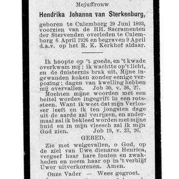 bidprent voor Hendrika Johanna van Sterkenburg. Geboren 29-06-1893 te Culemborg. Overleden 06-04-1926 te Culemborg