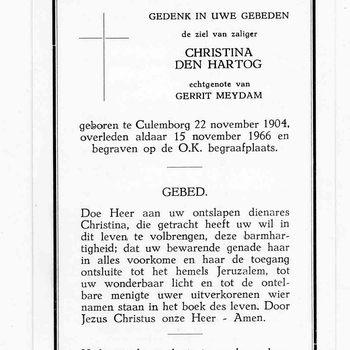bidprent voor Christina den Hartog. Geboren 22-11-1904 te Culemborg. Overleden 15-11-1966 te Culemborg