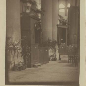 Foto, voorstellende interieur Grote of Barbarakerk te Culemborg, vervaardigd door Wollebrand Prins, 1917