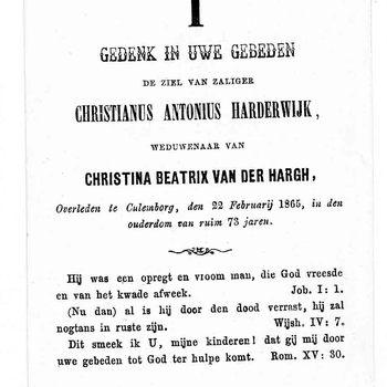 bidprent voor Christianus Antonius Harderwijk. Geboren 1792, overleden 22-02-1865 te Culemborg