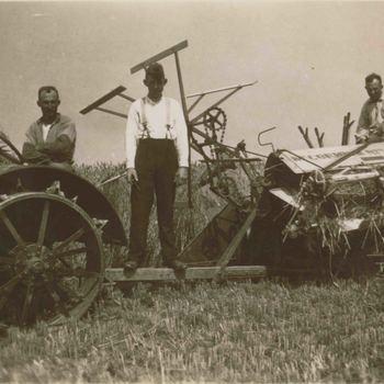 Foto, voorstellende het dorsen van graan, begin 20ste eeuw