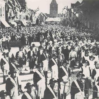 Foto, voorstellende onafhankelijkheidsfeest op de Markt te Culemborg, 1913