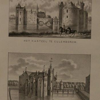 Litho, voorstellende het kasteel te Culemborg en daaronder het kasteel Waddestein te Asperen, tweede helft 19e eeuw
