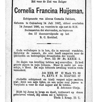 bidprent voor Cornelia Francina Huijsman. Geboren 14-07-1857 te Culemborg. Overleden 14-01-1890 te Culemborg