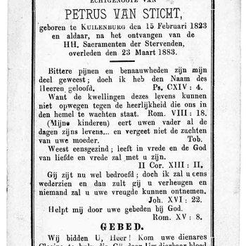 bidprent voor Clasina van der Hoef. Geboren 15-02-1823 te Culemborg. Overleden 23-03-1883 te Culemborg