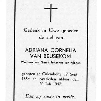 bidprent voor Adriana Cornelia van Beusekom. Geboren 17-09-1884 te Culemborg. Overleden 20-07-1947 te Culemborg