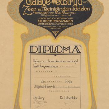 Diploma uit 1927, in het kader van etalagewedstrijd, uitgereikt aan S. Joustra te Culenborg.