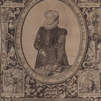 Gravure voorstellende Charlotte van Bourbon, gedateerd 1583.