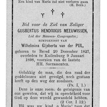 bidprent voor Gijsbertus Hendrikus Meeuwissen. Geboren 20-12-1827 te Beesd. Overleden 09-01-1898 te Culemborg
