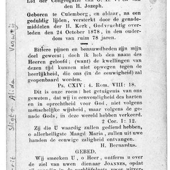 bidprent voor Joannes Sligt. Geboren 1800 te Culemborg. Overleden 24-10-1878 te Culemborg