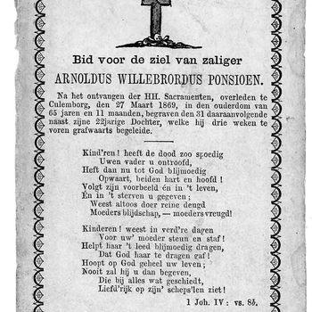 bidprent voor Arnoldus Willebrordus Ponsioen. Geboren 1803, overleden 27-03-1869 te Culemborg
