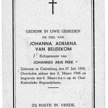 bidprent voor Johanna Adriana van Beusekom. Geboren 27-07-1890 te Culemborg. Overleden 02-03-1946 te Culemborg