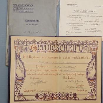 getuigschrift geassocieerd met Dirk Bernardus van den Ham en De Ambachtsschool te Utrecht, 1 april 1915