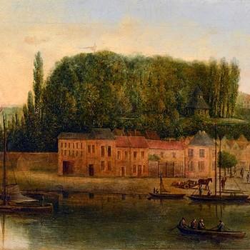 Valkhof en Waalkade, van Belvedere tot Veerpoort, gezien vanaf de rivier